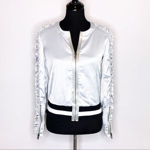 William Rast silver zip front jacket rutched sleeves XS